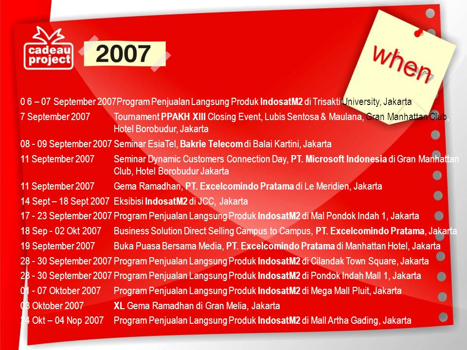 0 6 – 07 September 2007Program Penjualan Langsung Produk IndosatM2 di Trisakti University, Jakarta 7 September 2007 Tournament PPAKH XIII Closing Event, Lubis Sentosa & Maulana, Gran Manhattan Club, Hotel Borobudur, Jakarta 08 - 09 September 2007 Seminar EsiaTel, Bakrie Telecom di Balai Kartini, Jakarta 11 September 2007 Seminar Dynamic Customers Connection Day, PT.