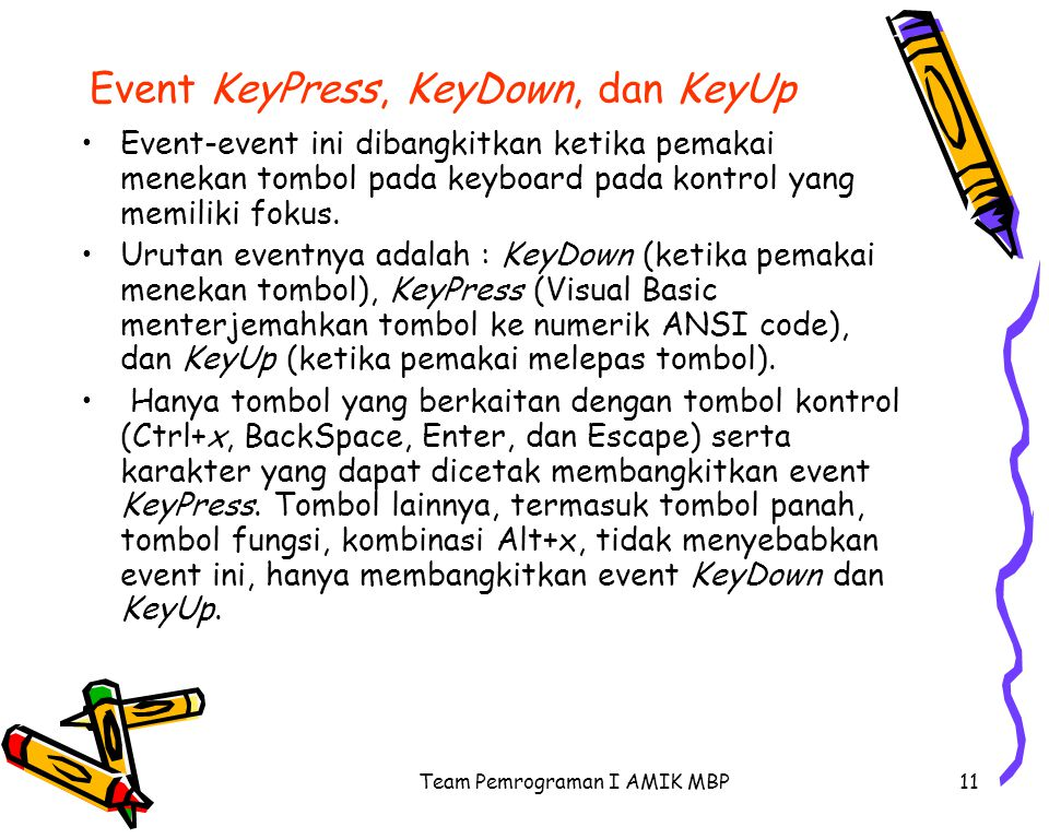 Event KeyPress, KeyDown, dan KeyUp
