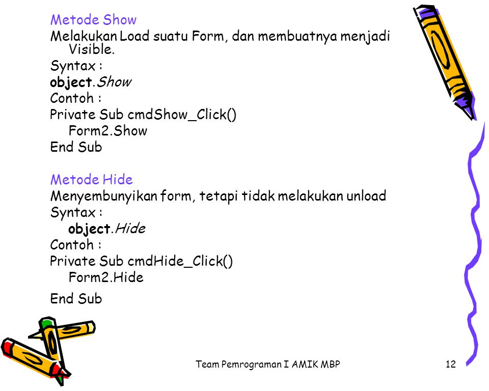 Team Pemrograman I AMIK MBP