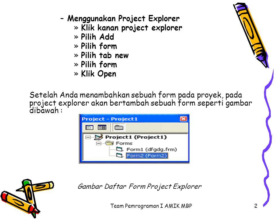 Menggunakan Project Explorer