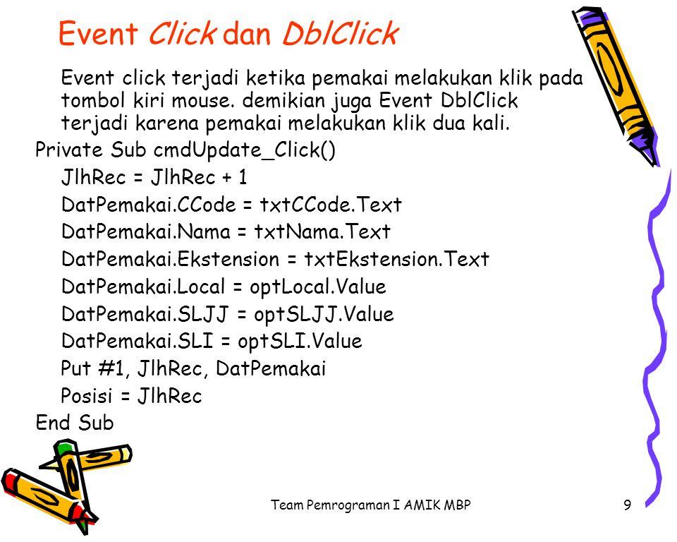 Event Click dan DblClick