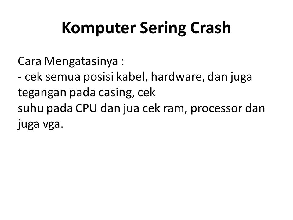 Komputer Sering Crash