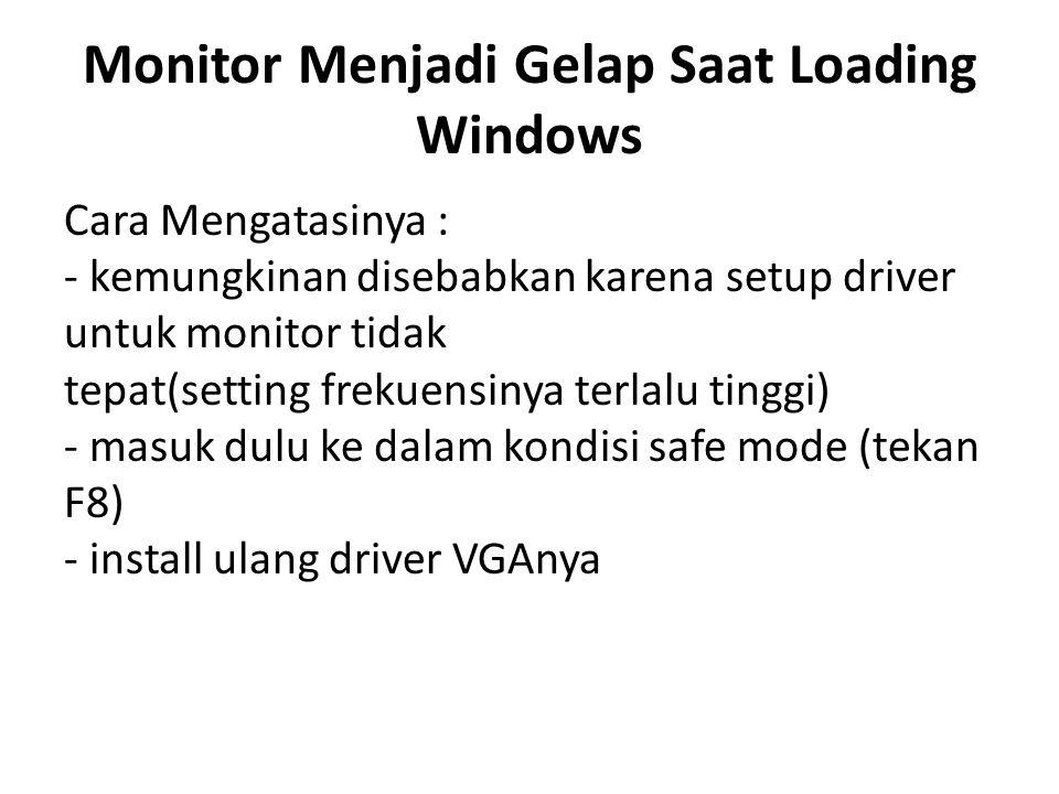 Monitor Menjadi Gelap Saat Loading Windows