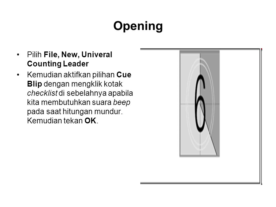Opening Pilih File, New, Univeral Counting Leader