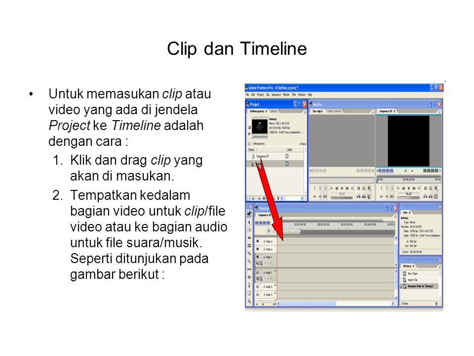 Clip dan Timeline Untuk memasukan clip atau video yang ada di jendela Project ke Timeline adalah dengan cara :