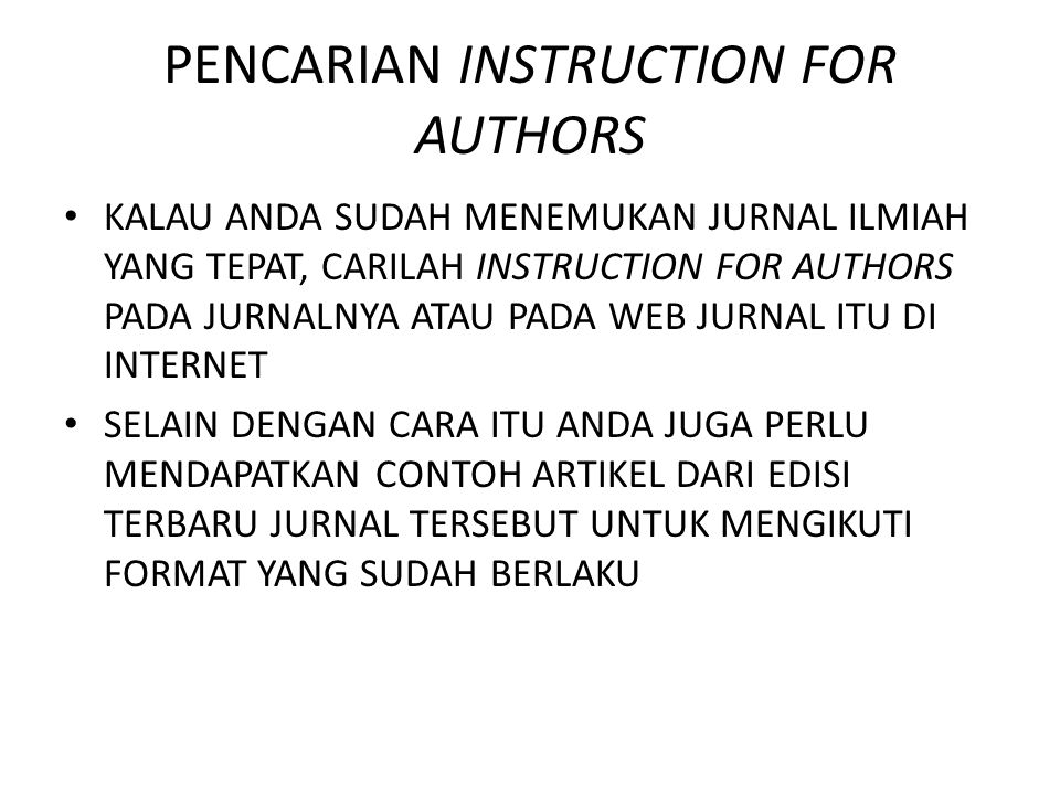 PENCARIAN INSTRUCTION FOR AUTHORS