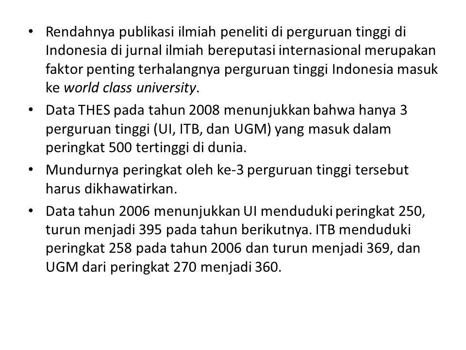 Rendahnya publikasi ilmiah peneliti di perguruan tinggi di Indonesia di jurnal ilmiah bereputasi internasional merupakan faktor penting terhalangnya perguruan tinggi Indonesia masuk ke world class university.