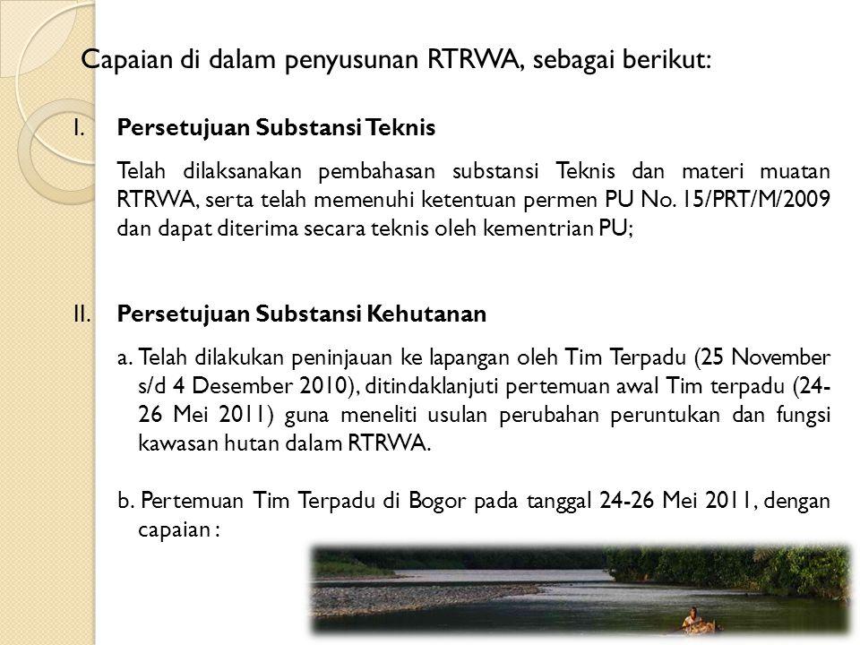 Capaian di dalam penyusunan RTRWA, sebagai berikut: