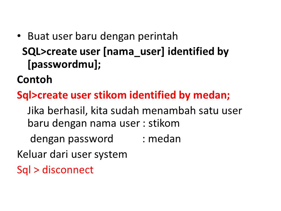 Buat user baru dengan perintah