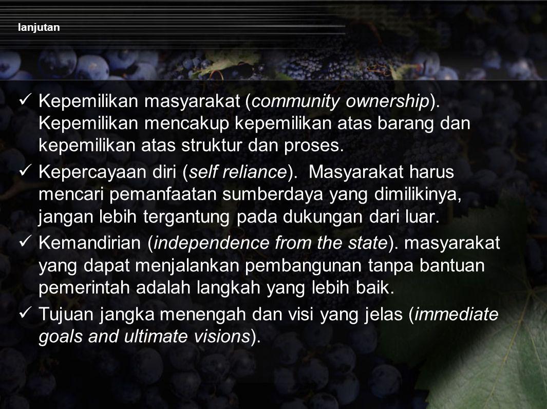 lanjutan Kepemilikan masyarakat (community ownership). Kepemilikan mencakup kepemilikan atas barang dan kepemilikan atas struktur dan proses.