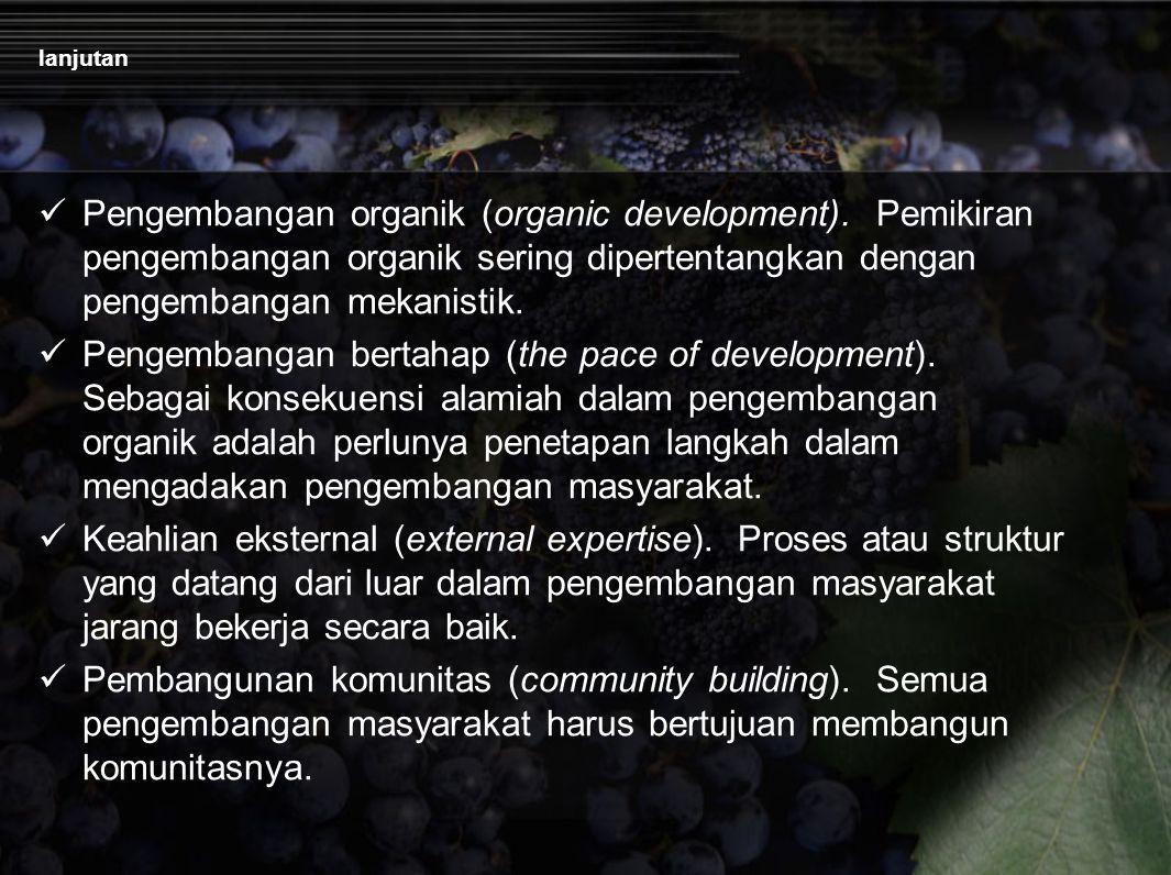 lanjutan Pengembangan organik (organic development). Pemikiran pengembangan organik sering dipertentangkan dengan pengembangan mekanistik.