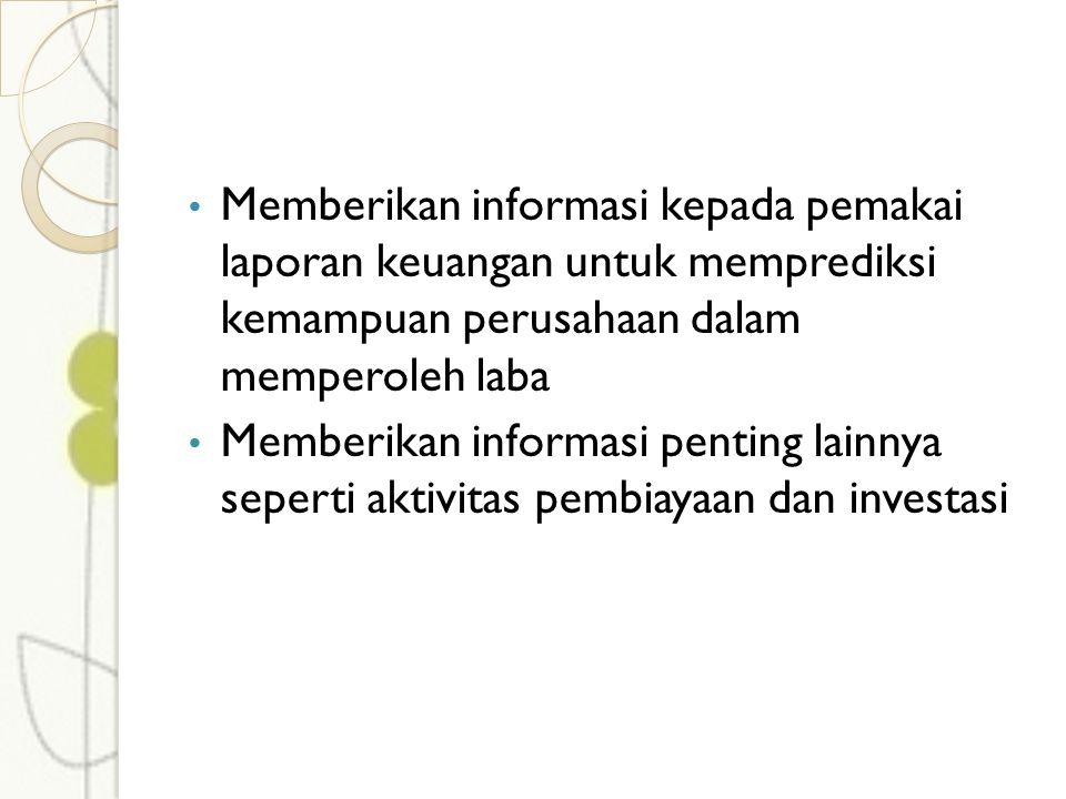 Memberikan informasi kepada pemakai laporan keuangan untuk memprediksi kemampuan perusahaan dalam memperoleh laba