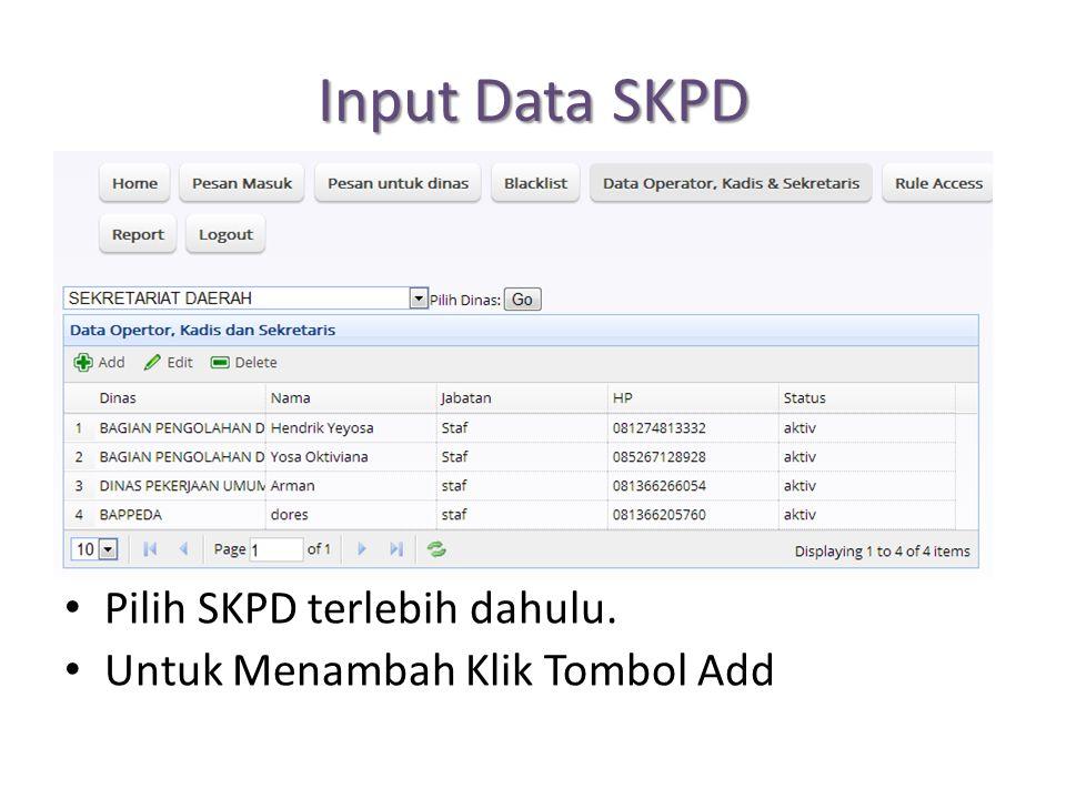 Input Data SKPD Pilih SKPD terlebih dahulu.