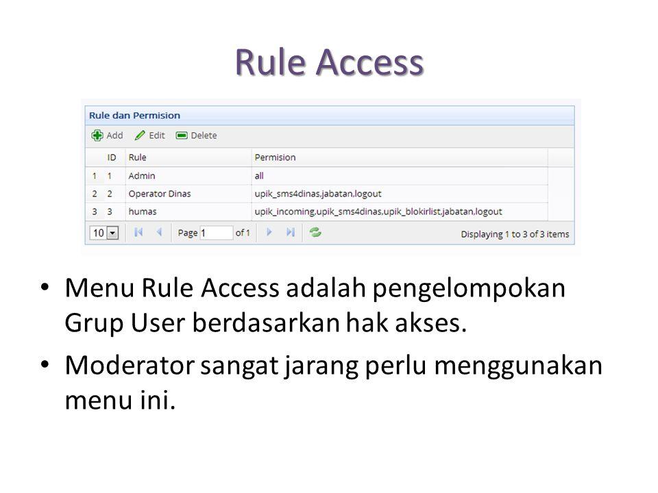 Rule Access Menu Rule Access adalah pengelompokan Grup User berdasarkan hak akses.