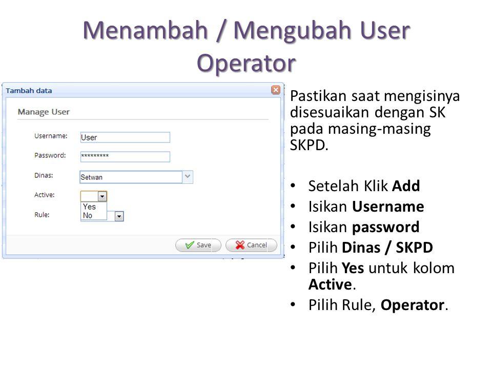 Menambah / Mengubah User Operator