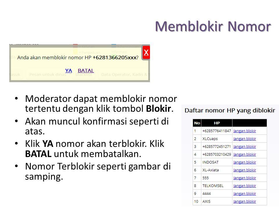 Memblokir Nomor Moderator dapat memblokir nomor tertentu dengan klik tombol Blokir. Akan muncul konfirmasi seperti di atas.