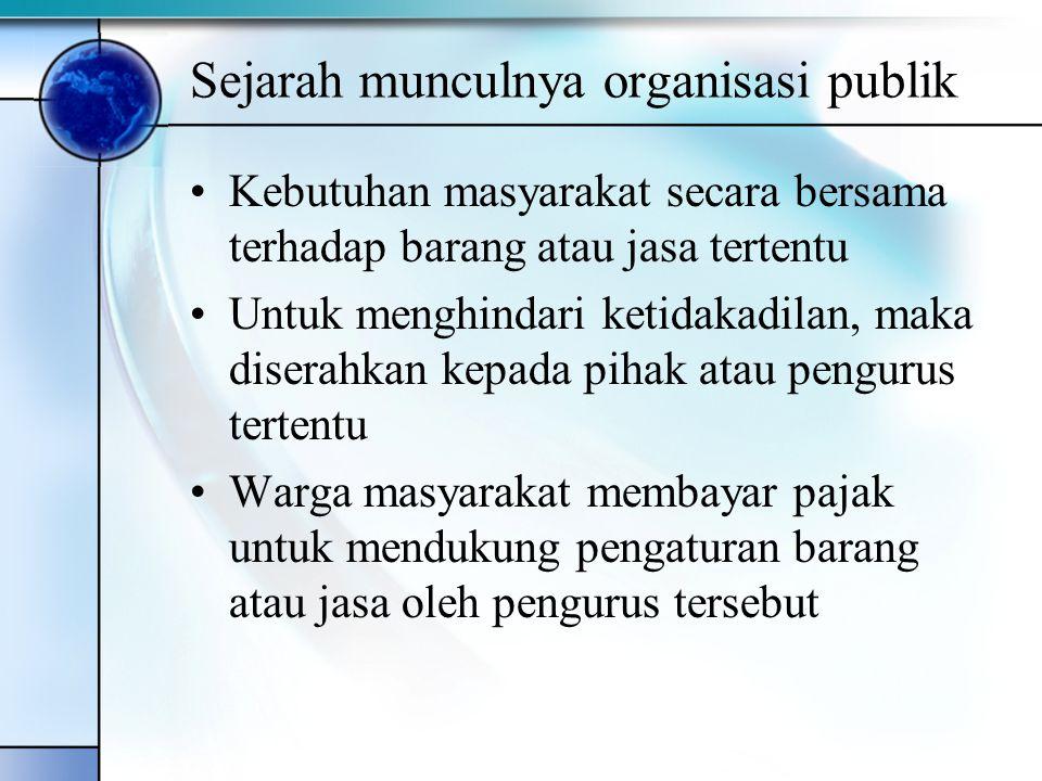 Sejarah munculnya organisasi publik