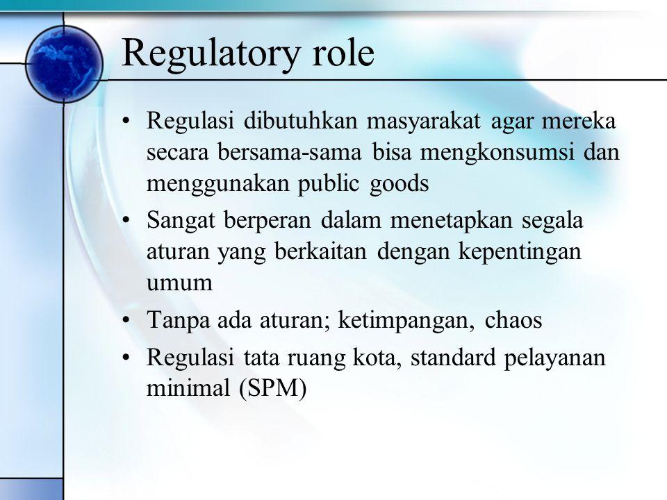 Regulatory role Regulasi dibutuhkan masyarakat agar mereka secara bersama-sama bisa mengkonsumsi dan menggunakan public goods.
