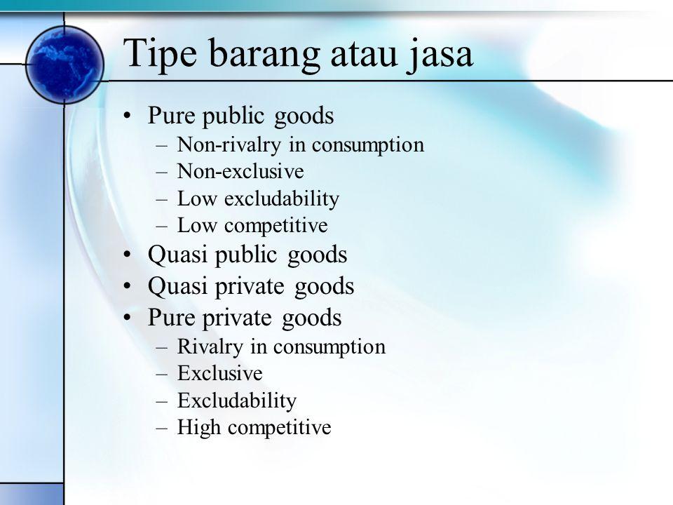 Tipe barang atau jasa Pure public goods Quasi public goods