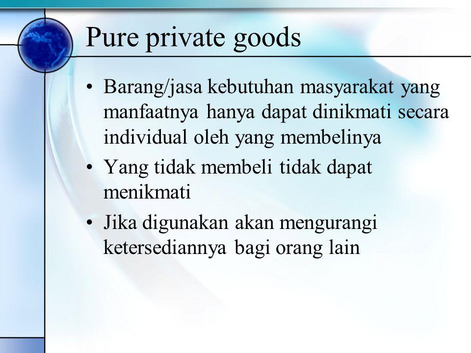 Pure private goods Barang/jasa kebutuhan masyarakat yang manfaatnya hanya dapat dinikmati secara individual oleh yang membelinya.