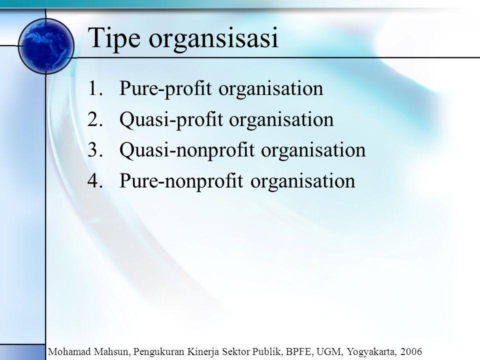 Tipe organsisasi Pure-profit organisation Quasi-profit organisation