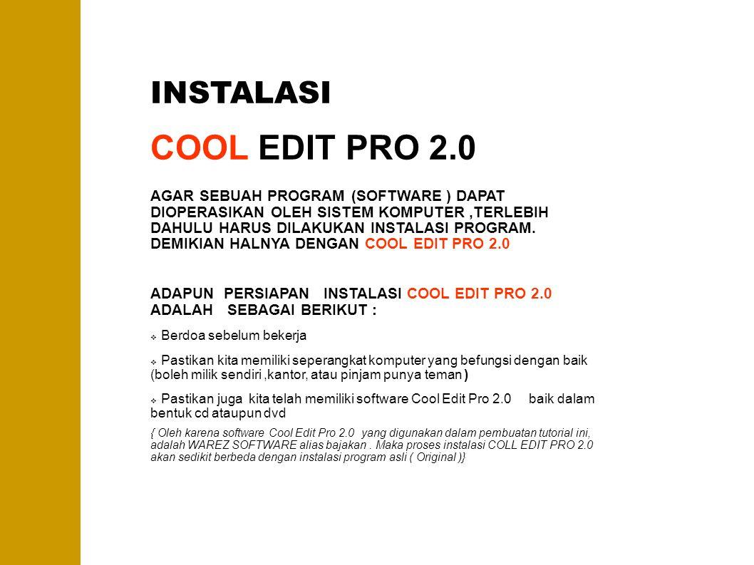 COOL EDIT PRO 2.0 INSTALASI