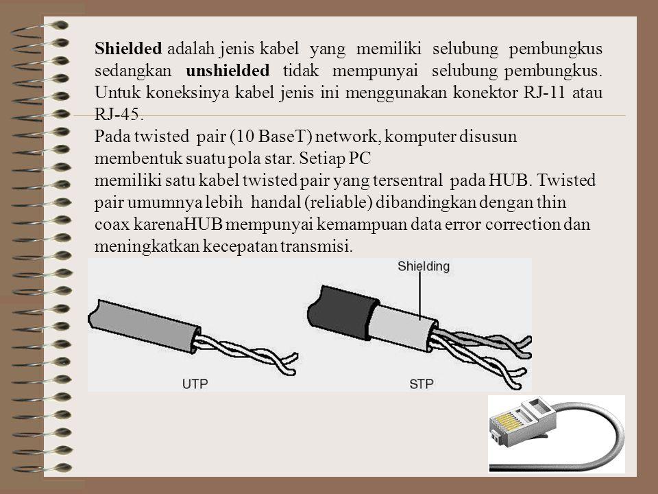 Shielded adalah jenis kabel yang memiliki selubung pembungkus sedangkan unshielded tidak mempunyai selubung pembungkus. Untuk koneksinya kabel jenis ini menggunakan konektor RJ-11 atau RJ-45.