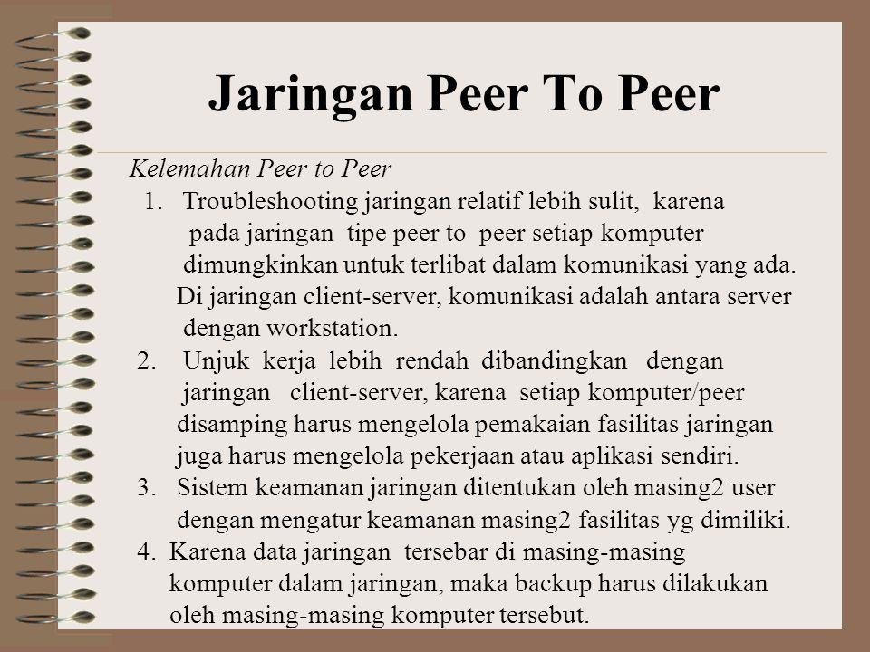Jaringan Peer To Peer Kelemahan Peer to Peer