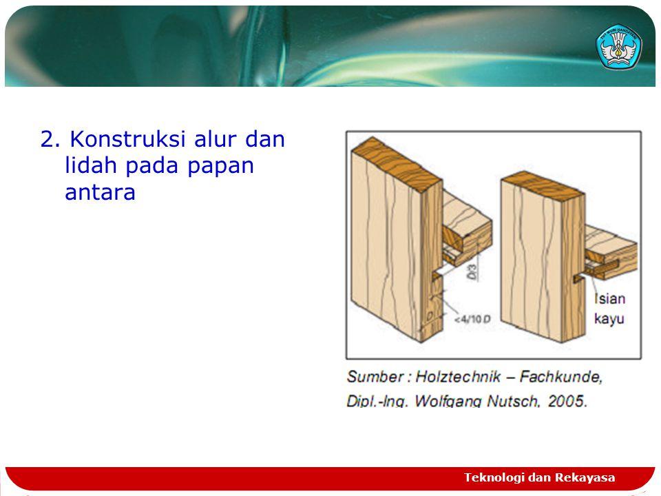 2. Konstruksi alur dan lidah pada papan antara