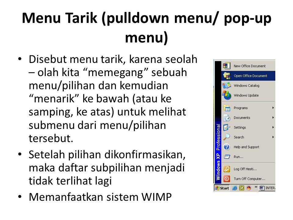 Menu Tarik (pulldown menu/ pop-up menu)