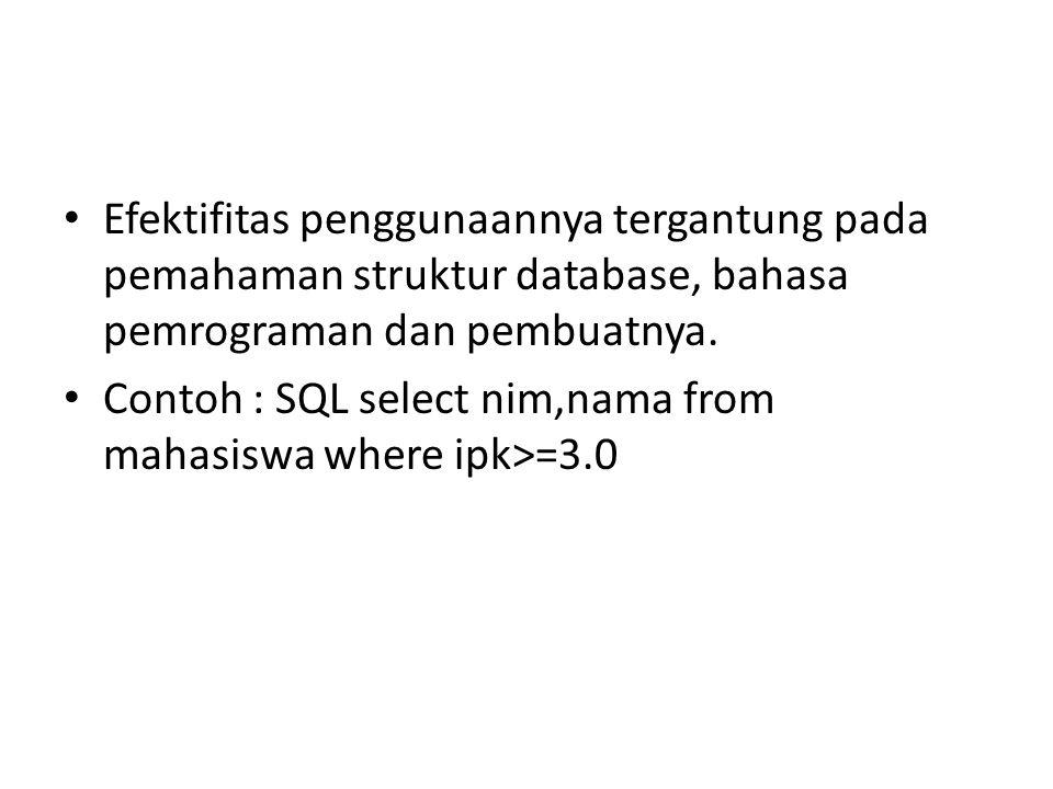 Efektifitas penggunaannya tergantung pada pemahaman struktur database, bahasa pemrograman dan pembuatnya.
