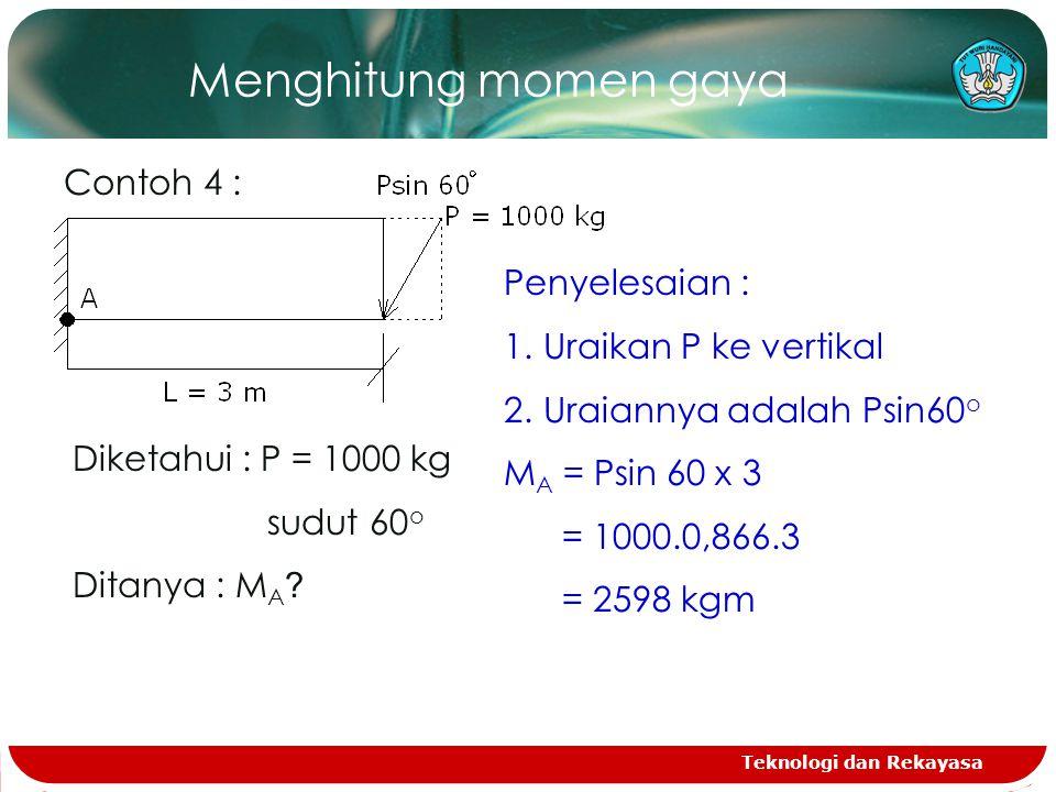Menghitung momen gaya Contoh 4 : Penyelesaian : Uraikan P ke vertikal