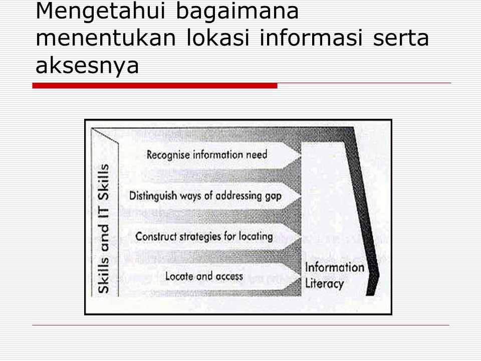Mengetahui bagaimana menentukan lokasi informasi serta aksesnya