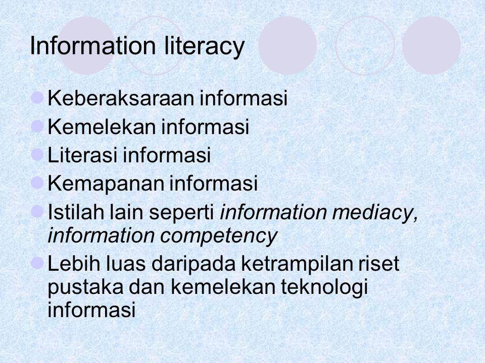 Information literacy Keberaksaraan informasi Kemelekan informasi