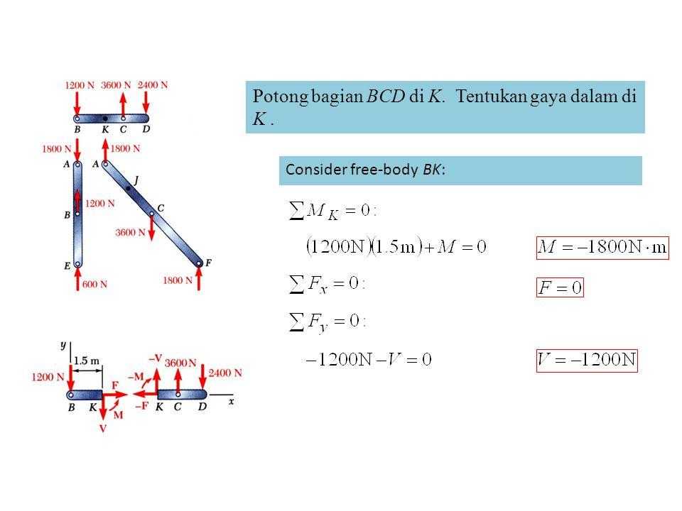 Potong bagian BCD di K. Tentukan gaya dalam di K .