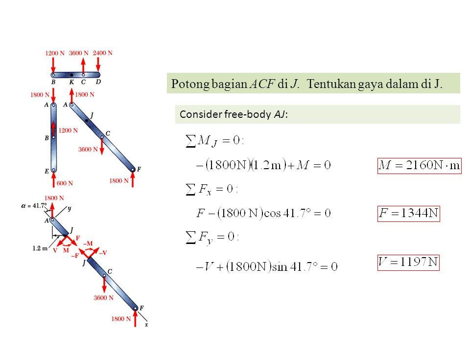 Potong bagian ACF di J. Tentukan gaya dalam di J.