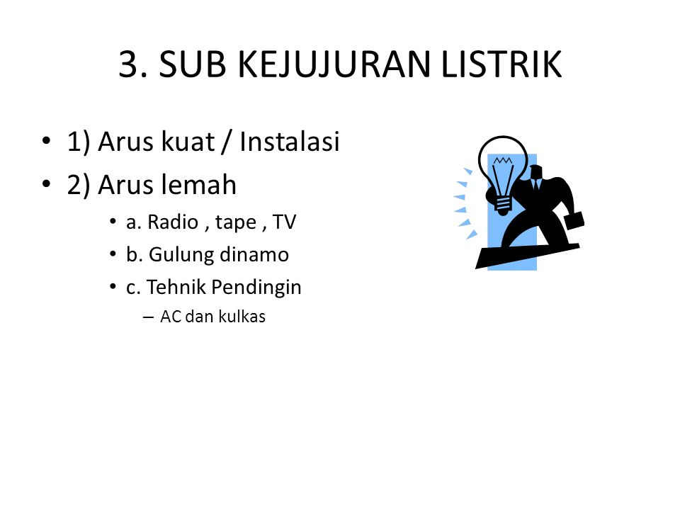 3. SUB KEJUJURAN LISTRIK 1) Arus kuat / Instalasi 2) Arus lemah