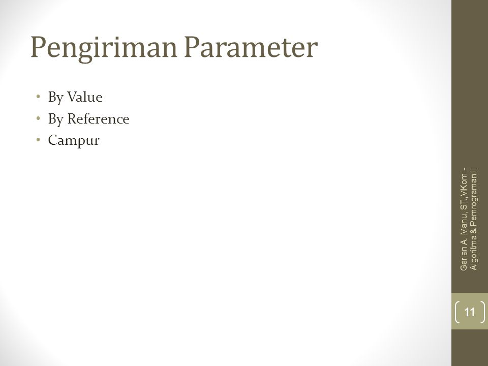 Pengiriman Parameter By Value By Reference Campur