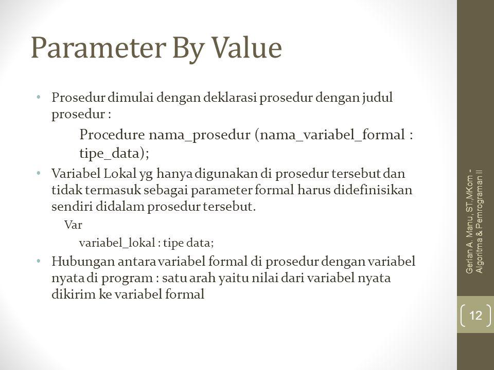 Parameter By Value Prosedur dimulai dengan deklarasi prosedur dengan judul prosedur : Procedure nama_prosedur (nama_variabel_formal : tipe_data);