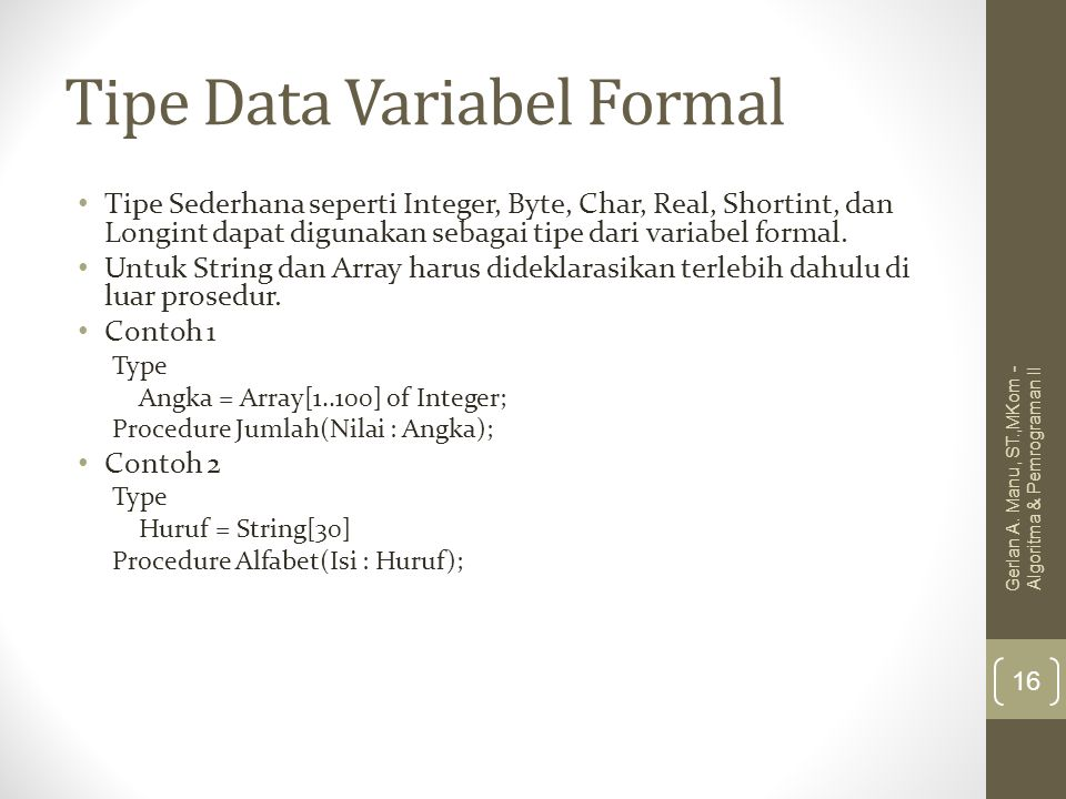 Tipe Data Variabel Formal