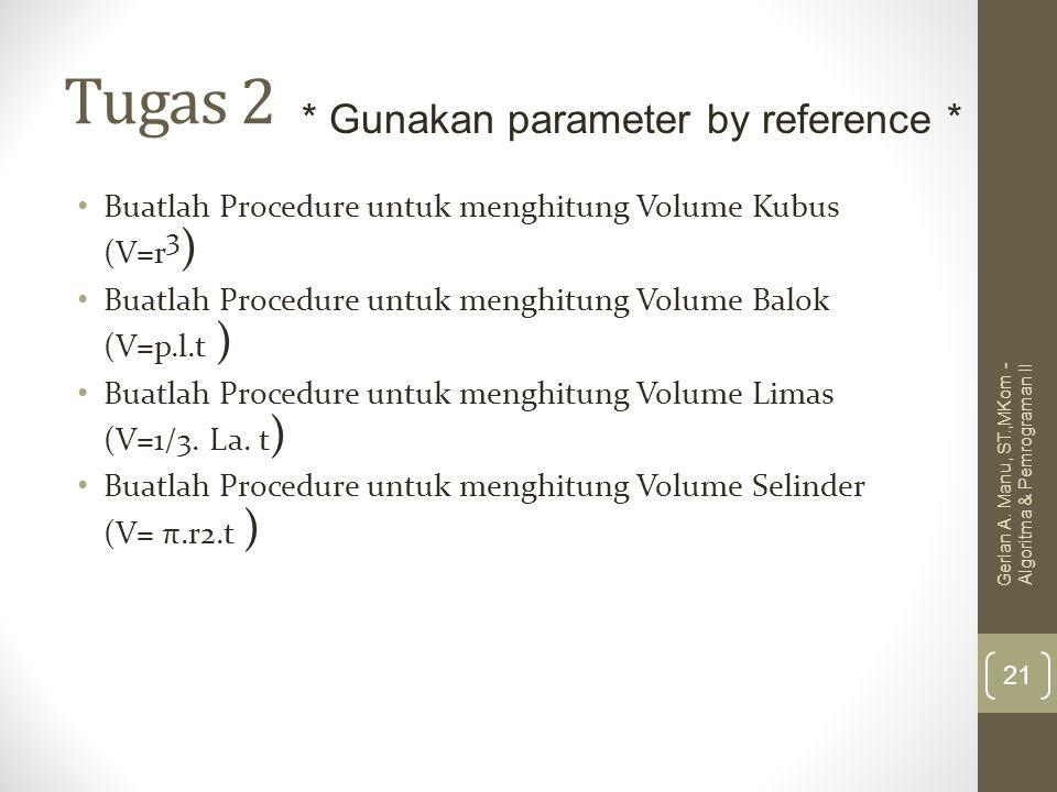 Tugas 2 * Gunakan parameter by reference *