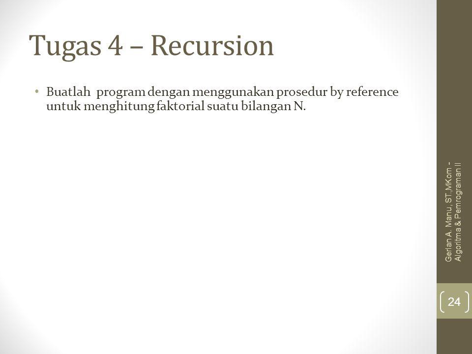 Tugas 4 – Recursion Buatlah program dengan menggunakan prosedur by reference untuk menghitung faktorial suatu bilangan N.