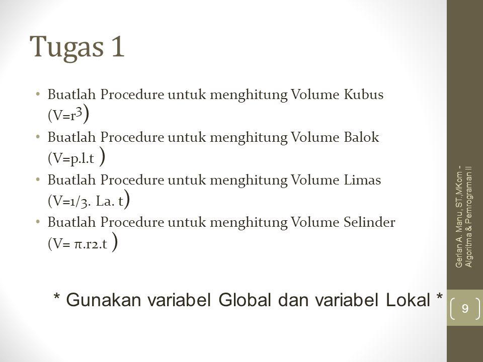 Tugas 1 * Gunakan variabel Global dan variabel Lokal *