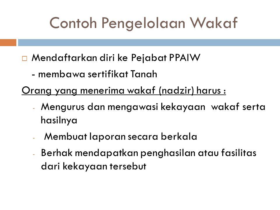 Contoh Pengelolaan Wakaf