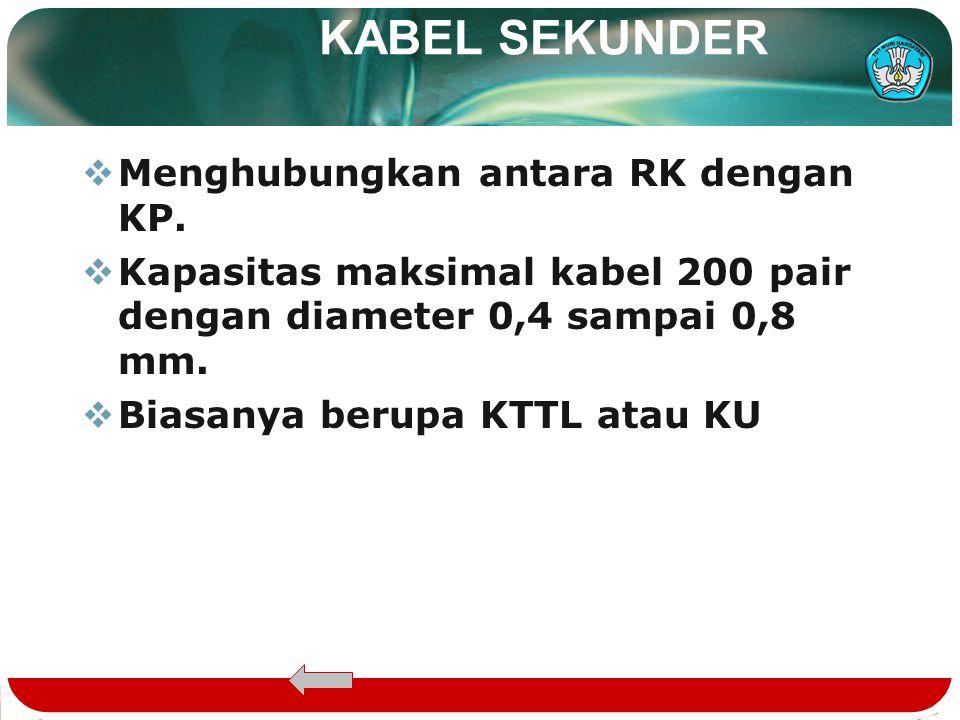 KABEL SEKUNDER Menghubungkan antara RK dengan KP.