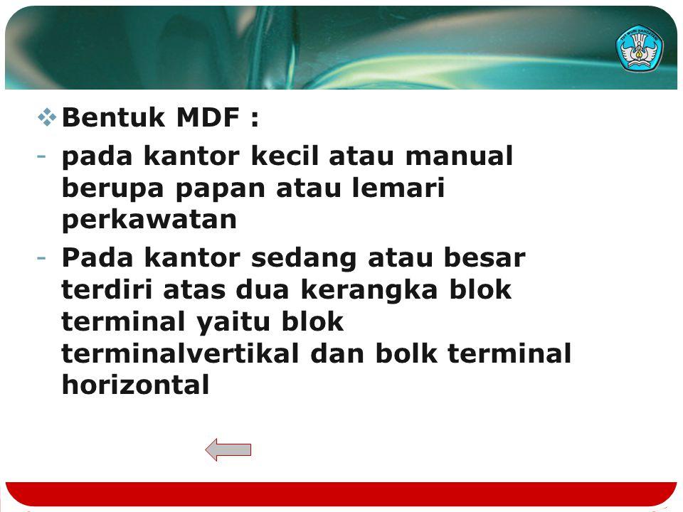 Bentuk MDF : pada kantor kecil atau manual berupa papan atau lemari perkawatan.