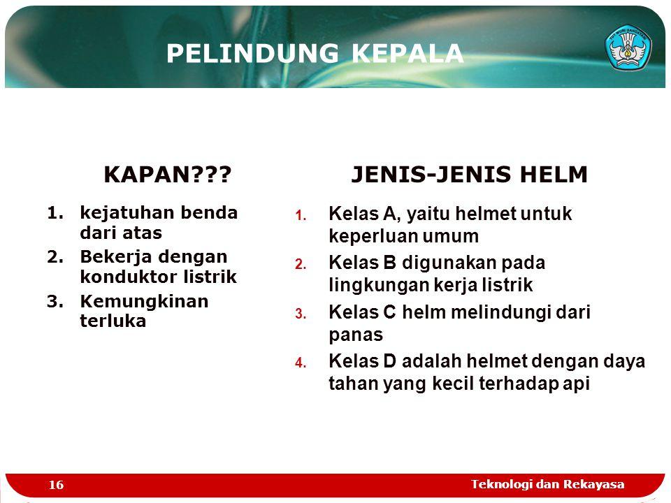 PELINDUNG KEPALA KAPAN JENIS-JENIS HELM