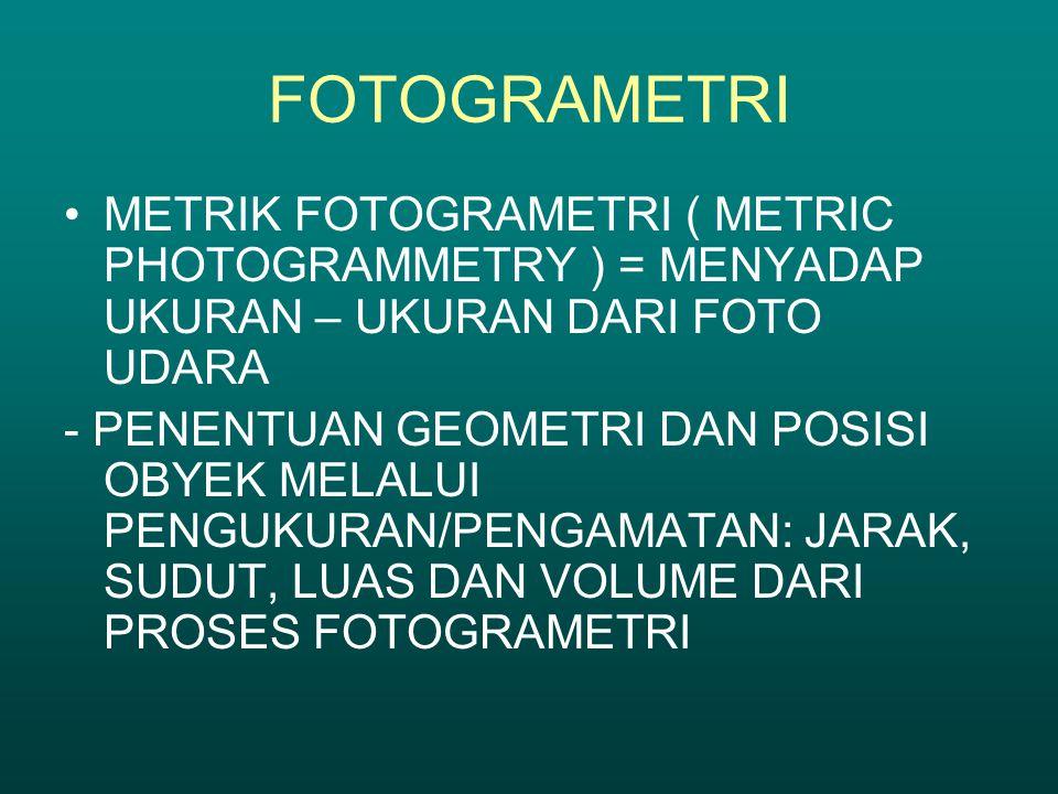 FOTOGRAMETRI METRIK FOTOGRAMETRI ( METRIC PHOTOGRAMMETRY ) = MENYADAP UKURAN – UKURAN DARI FOTO UDARA.