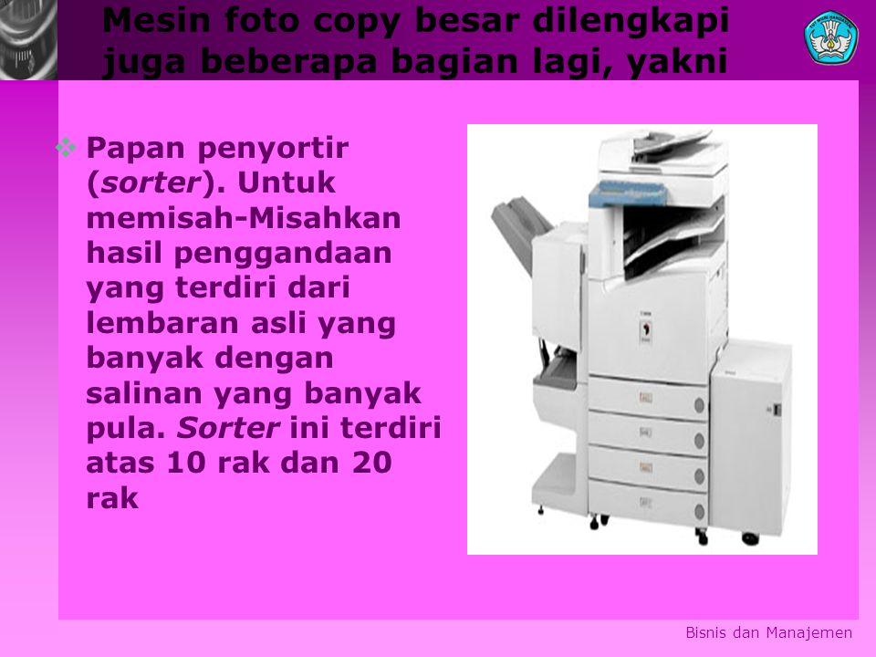 Mesin foto copy besar dilengkapi juga beberapa bagian lagi, yakni
