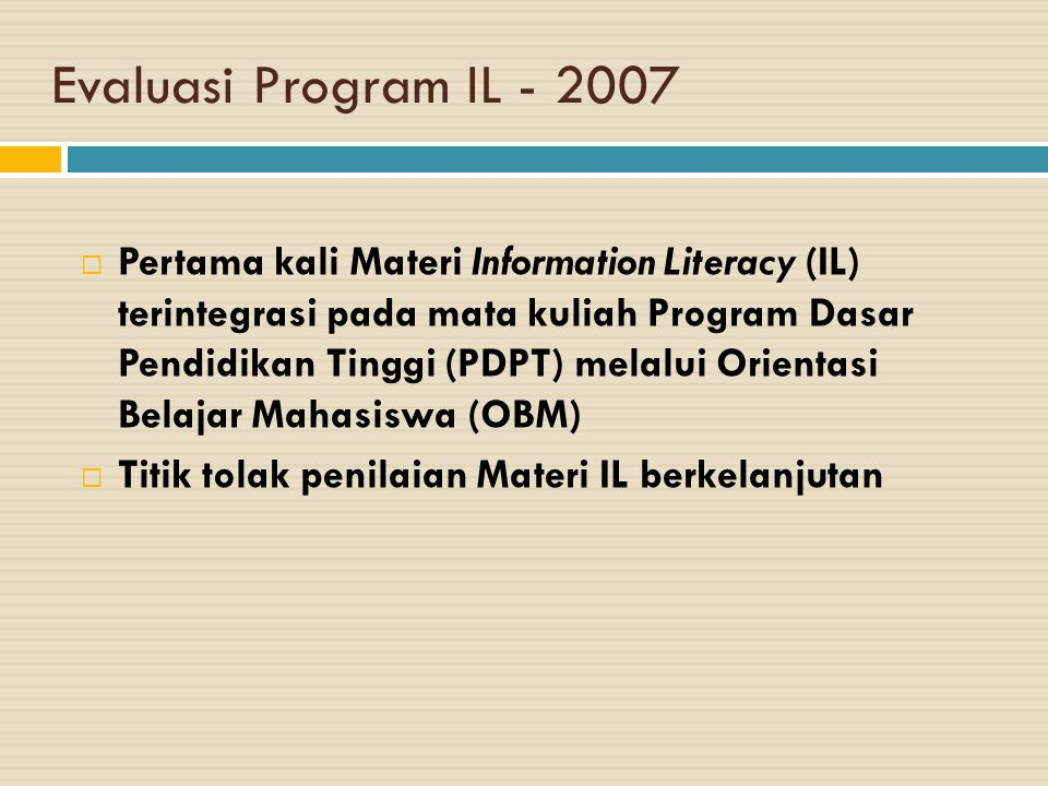 Evaluasi Program IL - 2007